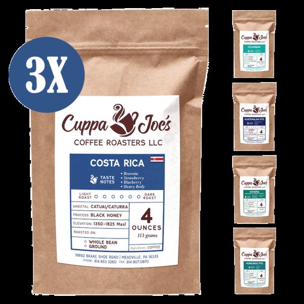 4oz bags of single-origin coffee in a 12oz sampler